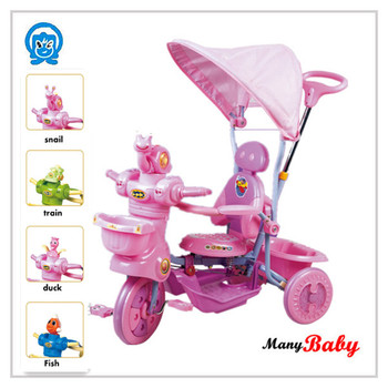 2015 newest design special design kids tricycle with pushhandle and canpony