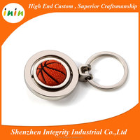 Hot sale round shape rotate basketball key chain for basketball club