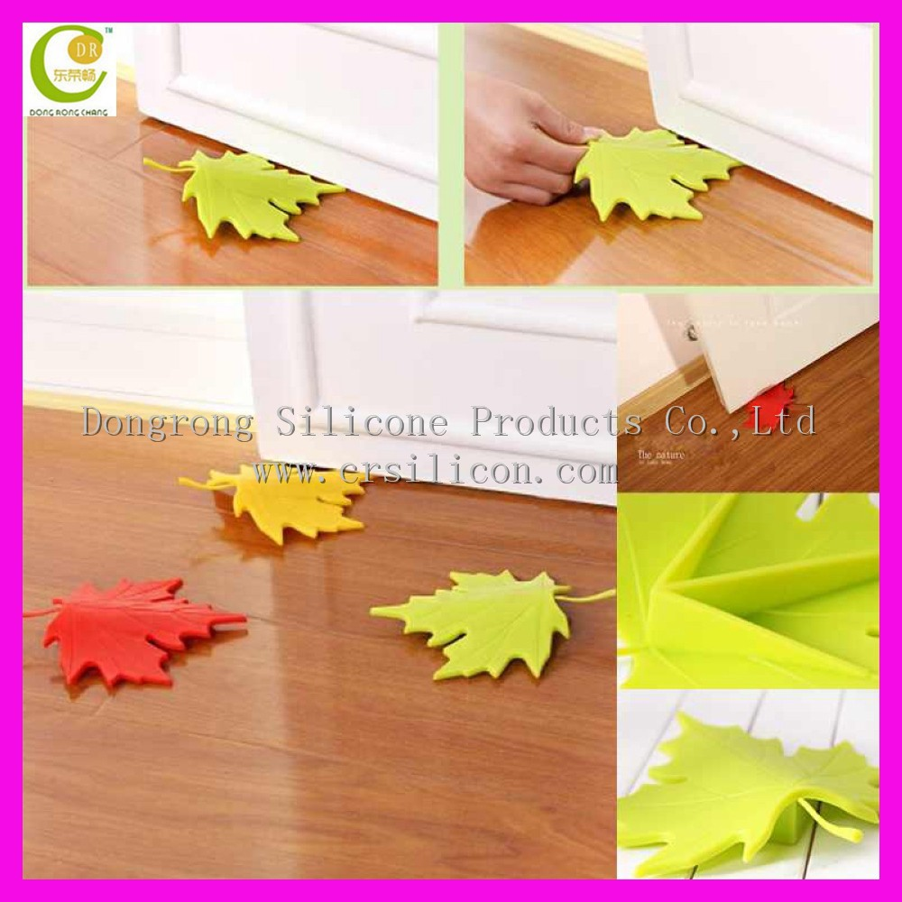 Children safety leaf shape silicone door stopper, soft sliding rubber door stops