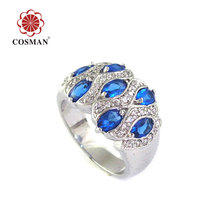 Blue Crystal Rhodium Plated Ring Jewelry with Wholesale Price