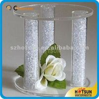 acrylic tube pillares cake stand with lights for wedding or party