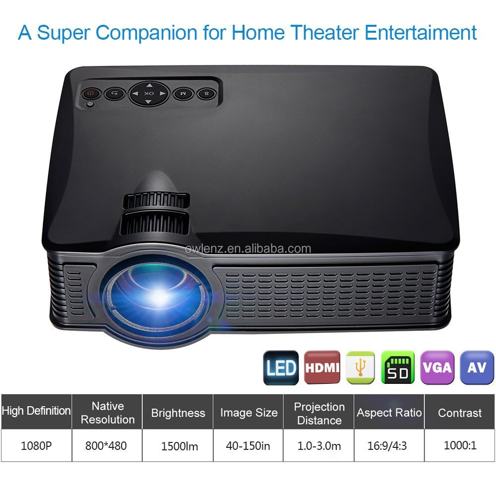 New arrival owlenz wifi projector with 1000:1 contrast ratio 1500 lumens mini portable cinema lcd projector