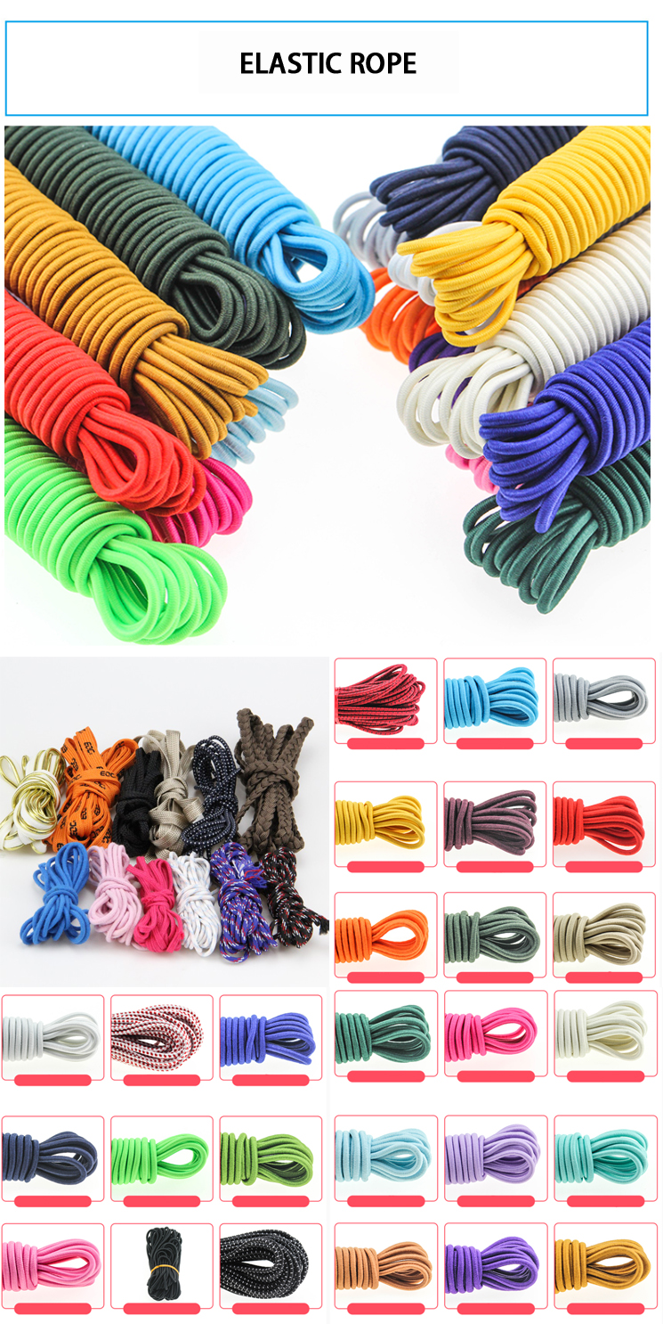 Golden silver customized stretch bungee polyester durable elastic rubber rope with metal clips for hair