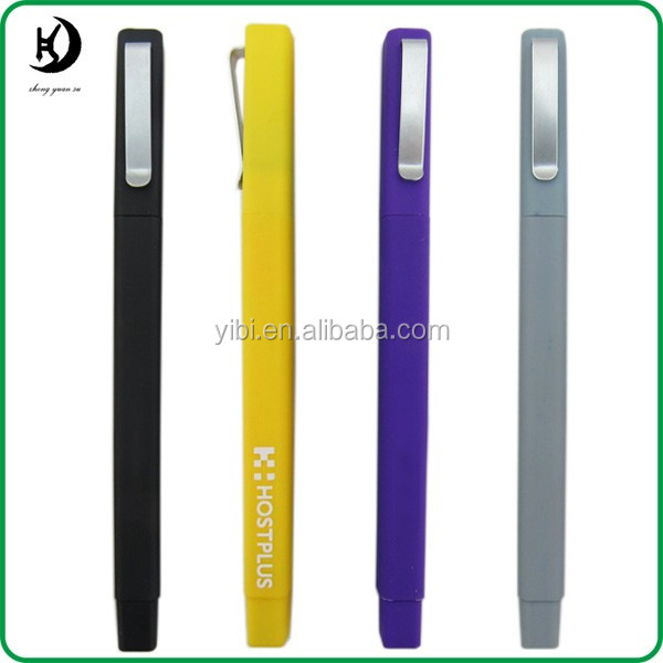 JXC175 wholesale custom logo rubber finish square personalized plastic pen