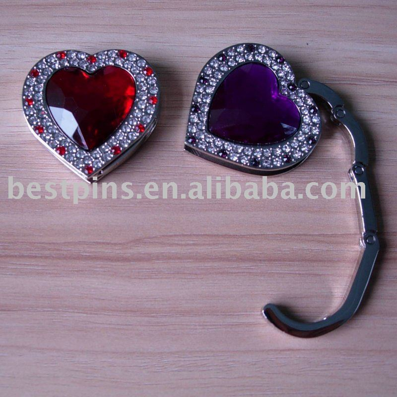 metal foldable crystal handbag hook/ purse hook