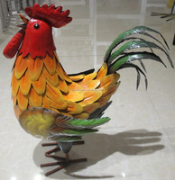 colorful metal rooster garden decoration
