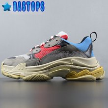 High Quality Brand Triple S Trainer Sneakers Red Blue Gray For Men and Women