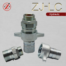 Steel thread locked hydraulic quick disconnect coupling with wing nut