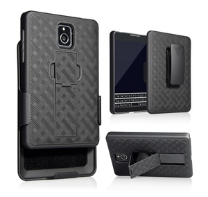 2018 America market kickstand phone shell rubber pc case combo holster for blackberry Q30S