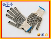 Hard-wearing polycotton string pvc dotted work gloves