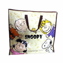 2014 snoopy PP woven zipper bag with handle