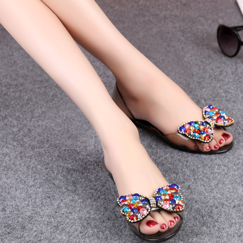 Classic fish mouth shape transparent flat sandals with cloorful beading