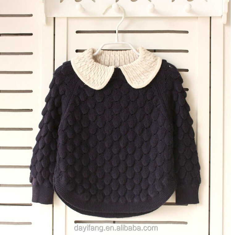 new fashion baby girls organic cashmere sweater with doll colar