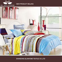 100% cotton print fabric bright color stripe adult bedding set