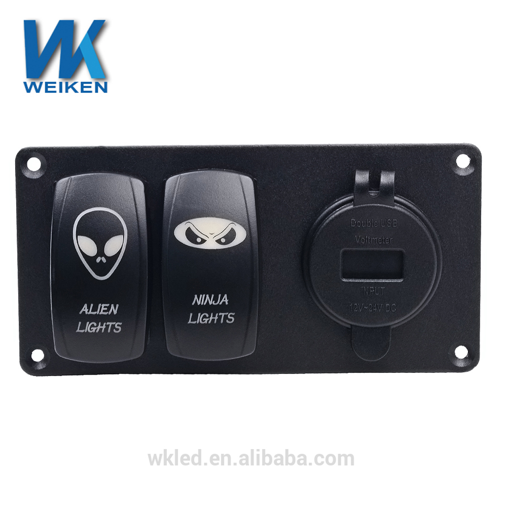 WEIKEN ABS PC PBT 5PIN double rocker switch with a voltage meter round dual USB combination of small panels