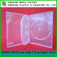 Super clear 22 mm plastic DVD Case 3 disc with 1 Tray