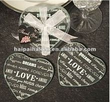heart-shaped glass coaster for wedding favors