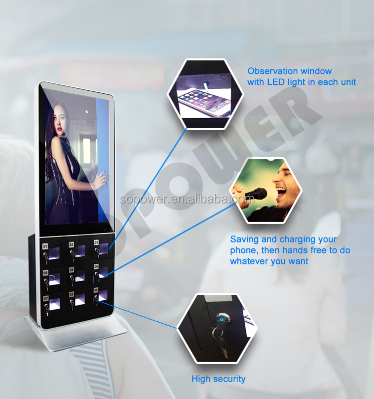 42 inch floor stand digital signage,totem,lcd advertising screens cell phone charging station