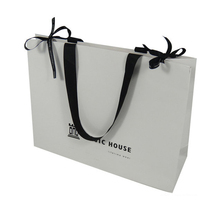 Flat white paper bag luxury bulk fancy paper gift bag custom paper bags with handles wholesale