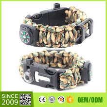 Wholesale 550 Parachute Cord Paracord Survival Compiled Military Bracelet Plastic Buckle Wristband Watch