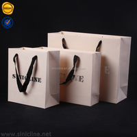 Sinicline 2016 beige textured special paper Custom Foiling Stamping Luxury Paper Shopping Bag