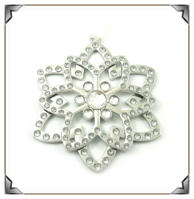 zinc alloy rhinestone snowflake ornament metal christmas decoration for sale