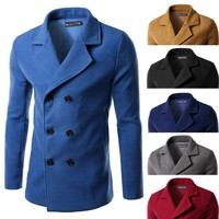 C58292S 2015 fashion men slim fit double-breasted turn-down collar woolen overcoat
