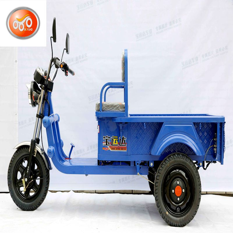 Bajaj three wheel electric bike, auto cargo tricycle two people seat large cargo size adults tricycle
