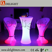 Commercial lighting up RGB remote control glass top round bar table for nightclub
