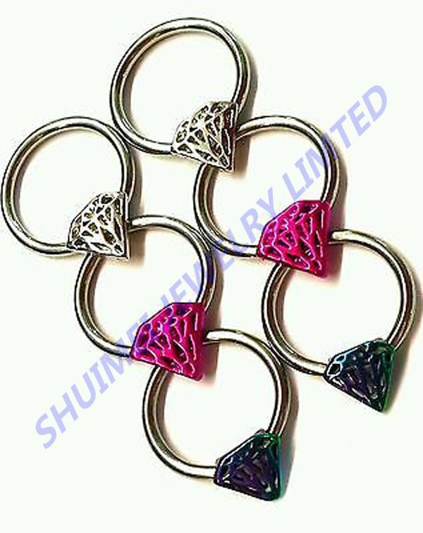 316l surgical stainless Steel nipple ring piercing jewelry hoop 14g surgical steel captive diamond Body Piercing Jewelry