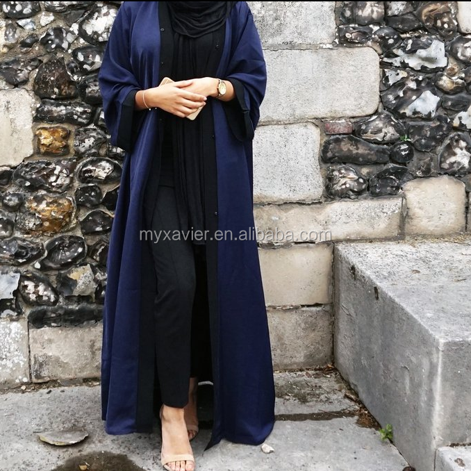 New customized fashion cheap baju muslim kimono blue abaya front open islamic cardigan abaya