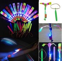 Elastic Toy Gift Flash Rotating Flying Arrow Rocket Helicopter,kids light up led rubbe band flashing led flying arrow