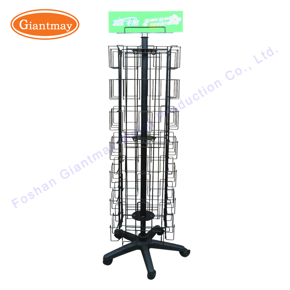 Wholesale collapsible floor standing rotating metal wire pockets postcard greeting card display rack card holder