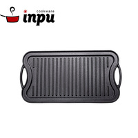 Pre-seasoned Outdoor Reversible Cast Iron BBQ Grill Plate