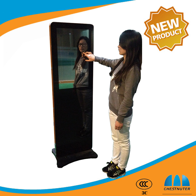 32 inch Full HD free standing magic mirror lcd advertising display