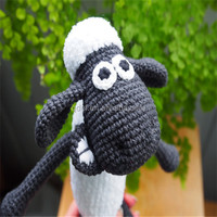 black and white shawn the sheep custom plush toys,Crochet shawn sheep Toy