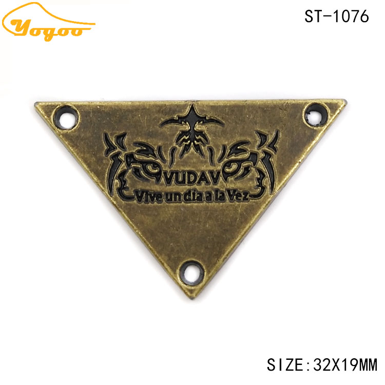 Custom Triangle Oil-painted Black Enamel Logo Engraving Antique Brass Metal Sewing Tag