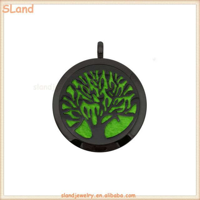 OEM color & pattern Stainless Steel black aromatherapy diffuser necklace pendant + chain + color felt pad Jewelry sets wholesale