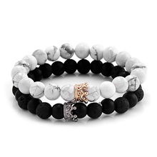 Trendy Black Lava White Turquoise Stone Beads with Gold Silver Color Alloy Crown Bracelet For Women NS180886