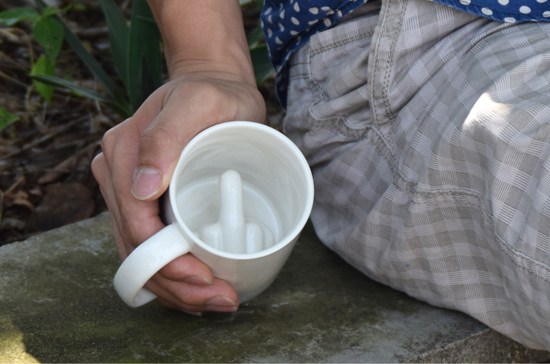 Middle-Finger Novelty Ceramic Coffee Mug