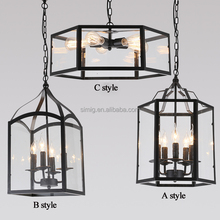 Vintage industrial design Polygon creative glass pendant lamp acclaim for kitchen room