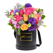 Wholesale round hat flower recycled black paper box luxury round hat box for flowers