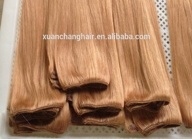 Wholesale price P Color 150g Indian Remy Clips In Hair Extensions
