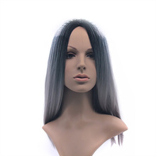Ombre Synthetic Full Lace Front Wig Dark Roots Long Natural Straight Silver Grey Replacement Hair Wigs For Women Heat Re