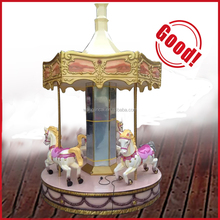 Electric Merry Go Round Antique Children 3 Seats Mini Small Carousel For Sale