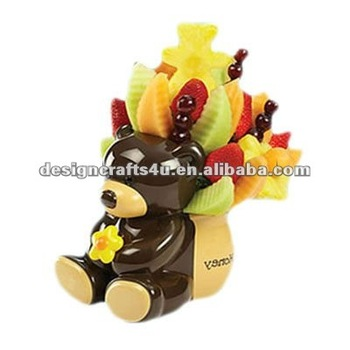 ceramic decorative teddy bear arrangement vase