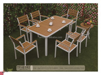 Patio garden furniture plastic wood dining table and chair TF-6142