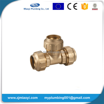 Brass Compression Fittings for PE Pipe - Tee