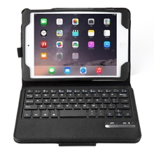 2 in 1 Detachable Bluetooth Keyboard Litchi Texture Leather Case with Holder for iPad mini 4(Black)