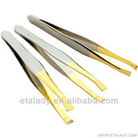 Gold-plated squared tip eyebrow tweezers